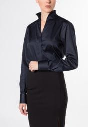 ETERNA LONG SLEEVE BLOUSE MODERN CLASSIC STRETCH NAVY UNI