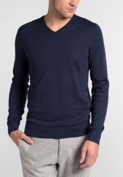 ETERNA KNIT SWEATER SLIM FIT WITH V-NECK OCEAN BLUE UNI