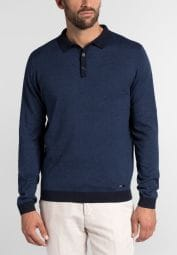 ETERNA KNIT SWEATER MODERN FIT WITH POLO NECK BLUE UNI