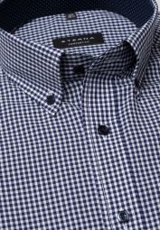 ETERNA HALF SLEEVE SHIRT COMFORT FIT POPLIN NAVY / WHITE CHECKED