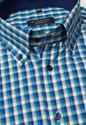 ETERNA HALF SLEEVE SHIRT COMFORT FIT POPLIN GREEN / BLUE / WHITE CHECKED