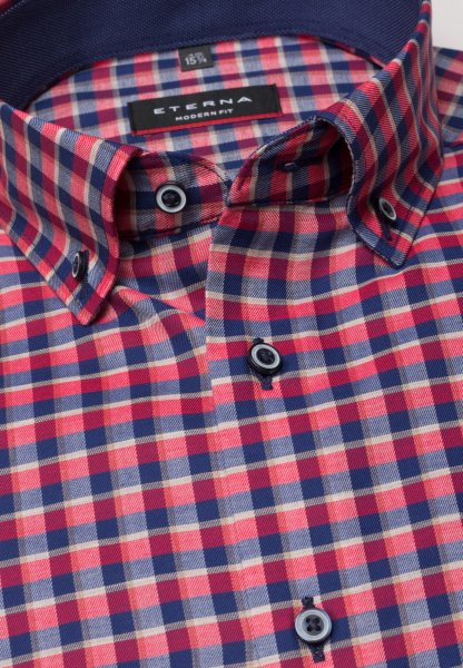 ETERNA LONG SLEEVE SHIRT MODERN FIT TWILL BLUE/RED CHECKED
