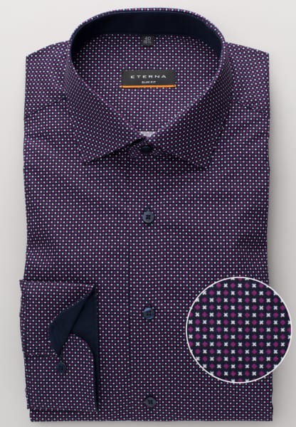 ETERNA LONG SLEEVE SHIRT SLIM FIT POPLIN PURPLE / WHITE PRINTED