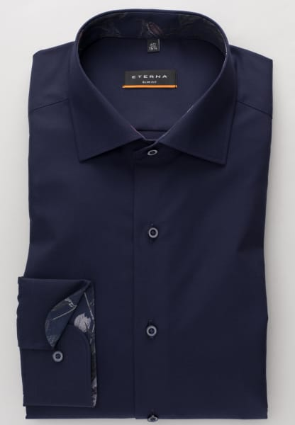 ETERNA LONG SLEEVE SHIRT SLIM FIT CHAMBRAY NAVY UNI