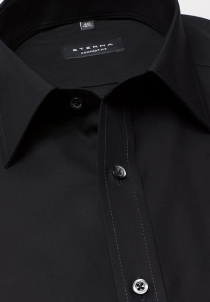 ETERNA HALF SLEEVE SHIRT COMFORT FIT POPLIN BLACK UNI