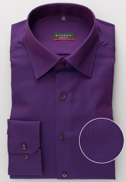 ETERNA LONG SLEEVE SHIRT MODERN FIT FANCY WEAVE AUBERGINE STRUCTURED