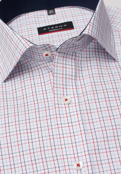 ETERNA HALF SLEEVE SHIRT MODERN FIT OXFORD RED/BLUE CHECKED