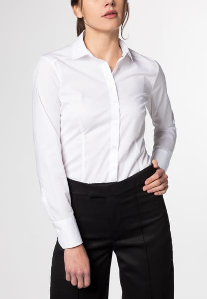 ETERNA LONG SLEEVE BLOUSE SLIM FIT STRETCH WHITE UNI