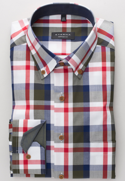 ETERNA LONG SLEEVE SHIRT COMFORT FIT POPLIN OLIVE / RED / WHITE CHECKED