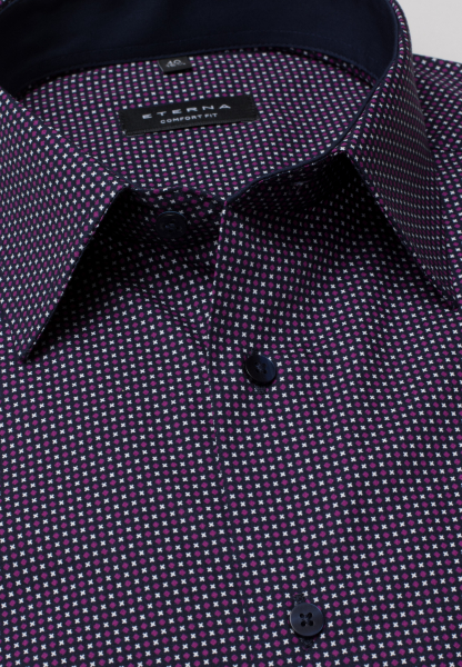 ETERNA LONG SLEEVE SHIRT COMFORT FIT POPLIN PURPLE / WHITE PRINTED