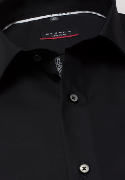 ETERNA LONG SLEEVE SHIRT MODERN FIT POPLIN BLACK UNI