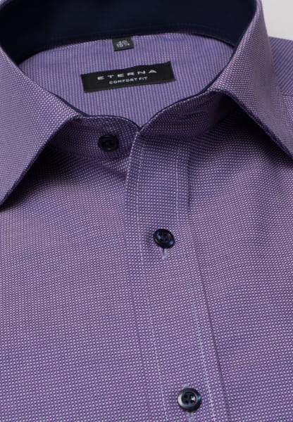 ETERNA LONG SLEEVE SHIRT COMFORT FIT NATTÉ PURPLE / NAVY STRUCTURED