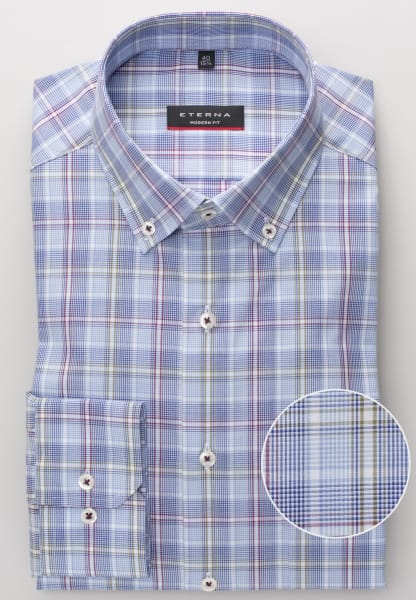 ETERNA LONG SLEEVE SHIRT MODERN FIT POPLIN LIGHT BLUE / WHITE CHECKED