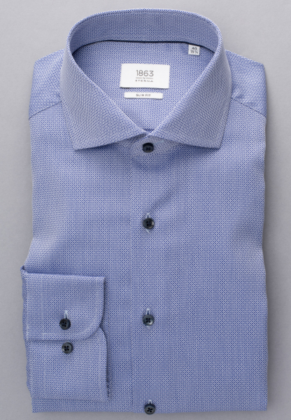 ETERNA LONG SLEEVE SHIRT SLIM FIT FIGURATIVE DOBBY PATTERN BLUE/WHITE PATTERNED