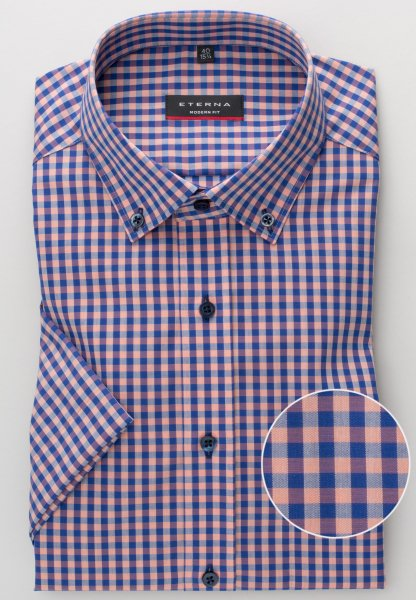ETERNA HALF SLEEVE SHIRT MODERN FIT POPLIN BLUE / PEACH CHECKED