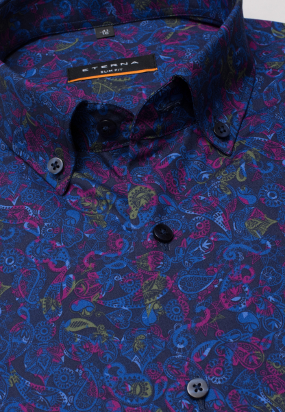 ETERNA LONG SLEEVE SHIRT SLIM FIT POPLIN BLUE / PINK PRINTED