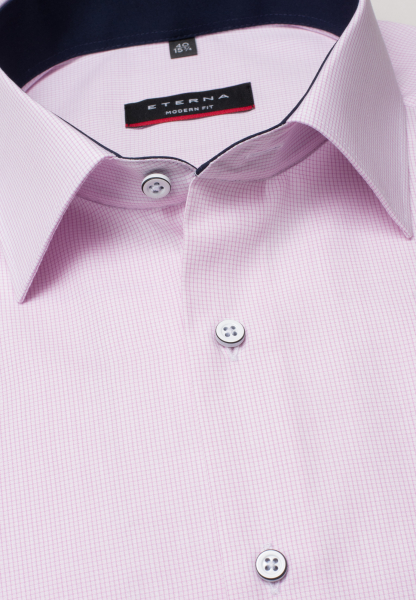 ETERNA HALF SLEEVE SHIRT MODERN FIT POPLIN ROSE CHECKED