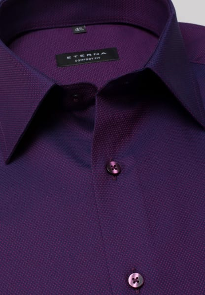 ETERNA LONG SLEEVE SHIRT COMFORT FIT FANCY WEAVE AUBERGINE STRUCTURED