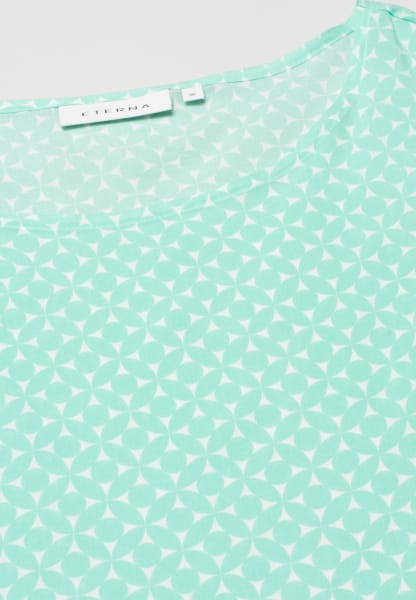 ETERNA WITHOUT SLEEVES BLOUSE MODERN CLASSIC VISKOSE MINT GREEN / WHITE PRINTED