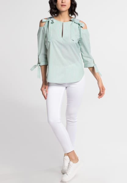 3/4 SLEEVE BLOUSE 1863 BY ETERNA - PREMIUM GREEN STRIPED