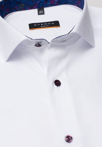 ETERNA LONG SLEEVE SHIRT SLIM FIT PINPOINT WHITE UNI