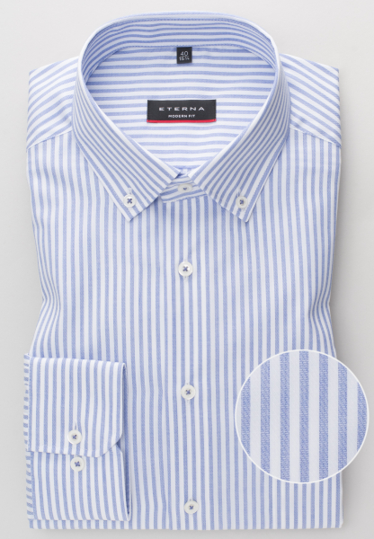 ETERNA LONG SLEEVE SHIRT MODERN FIT TWILL LIGHT BLUE / WHITE STRIPED