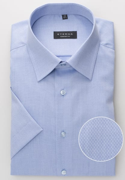 ETERNA HALF SLEEVE SHIRT COMFORT FIT FANCY WEAVE LIGHT BLUE STRUCTURED