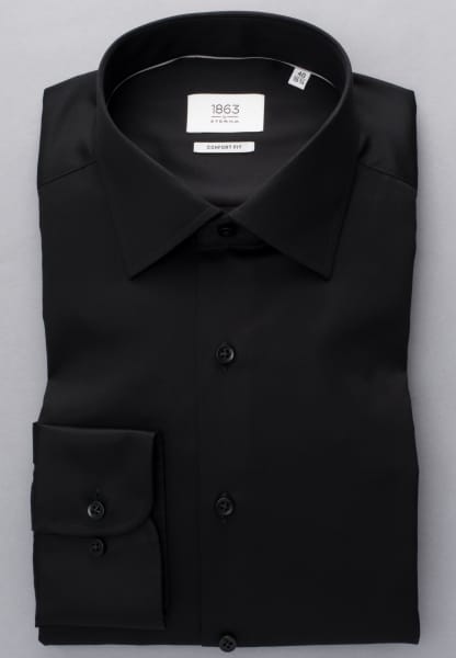 ETERNA LONG SLEEVE SHIRT COMFORT FIT GENTLE SHIRT TWILL BLACK UNI