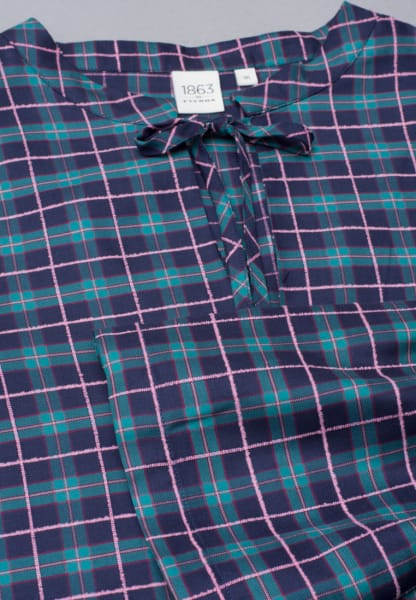 LONG SLEEVE BLOUSE 1863 BY ETERNA - PREMIUM TURQUOISE / PURPLE CHECKED