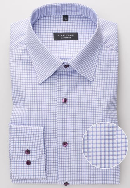 ETERNA LONG SLEEVE SHIRT COMFORT FIT TWILL LIGHT BLUE / WHITE CHECKED