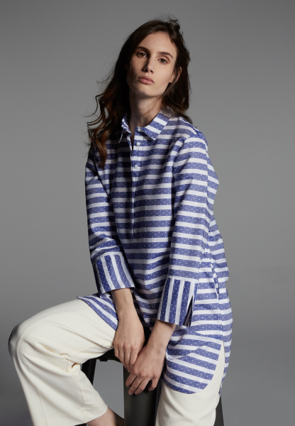 3/4 SLEEVE SHIRTDRESS 1863 BY ETERNA - PREMIUM FIL COUPÉ BLUE/WHITE STRIPED