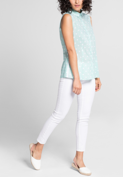 ETERNA WITHOUT SLEEVES BLOUSE MODERN CLASSIC POPLIN MINT / WHITE PRINTED