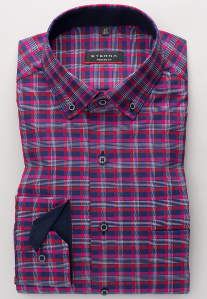 ETERNA LONG SLEEVE SHIRT MODERN FIT TWILL RED/BLUE CHECKED