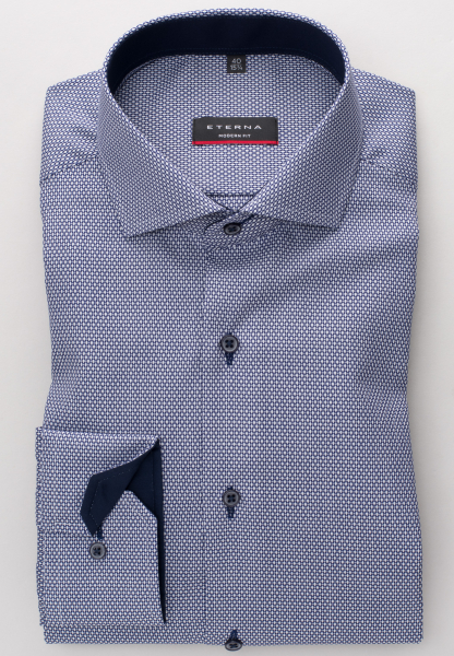 ETERNA LONG SLEEVE SHIRT MODERN FIT FANCY WEAVE DARK BLUE STRUCTURED