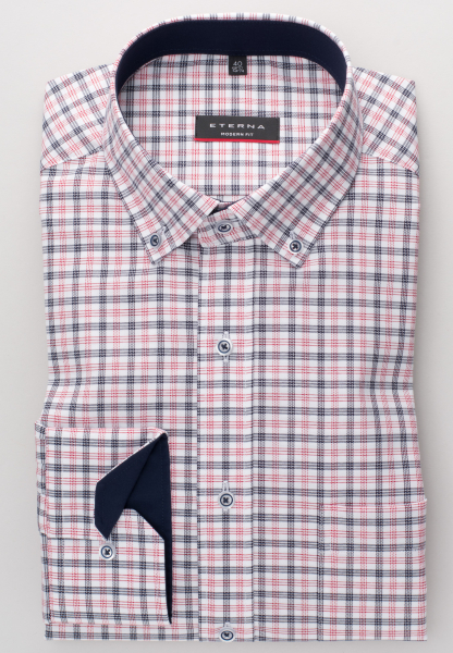 ETERNA LONG SLEEVE SHIRT MODERN FIT OXFORD BLUE/RED CHECKED