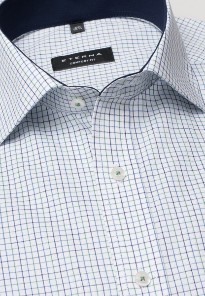 ETERNA HALF SLEEVE SHIRT COMFORT FIT OXFORD GREEN/BLUE CHECKED