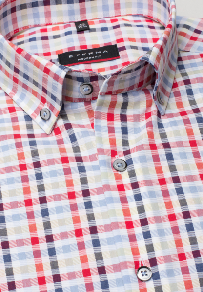 ETERNA HALF SLEEVE SHIRT MODERN FIT TWILL BLUE CHECKED