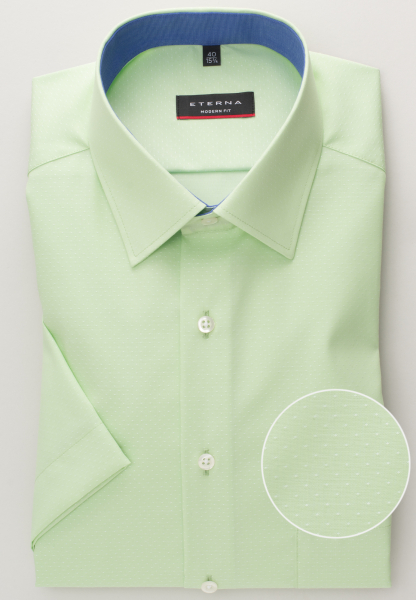 ETERNA HALF SLEEVE SHIRT MODERN FIT POPLIN GREEN UNI