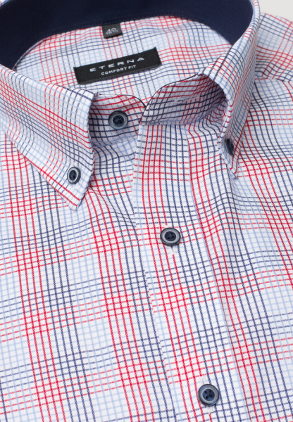 ETERNA HALF SLEEVE SHIRT COMFORT FIT TWILL BLUE/RED CHECKED