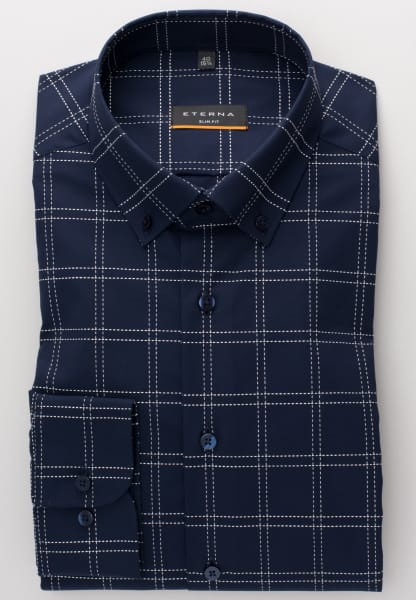 ETERNA LONG SLEEVE SHIRT SLIM FIT STRETCH NAVY BLUE CHECKED