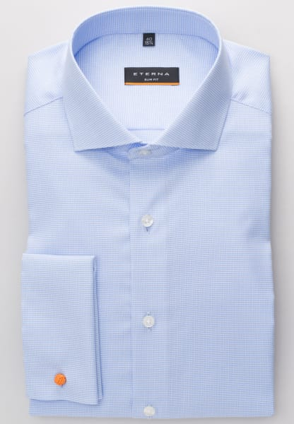 ETERNA LONG SLEEVE SHIRT SLIM FIT NATTÉ-STRETCH BLUE STRUCTURED