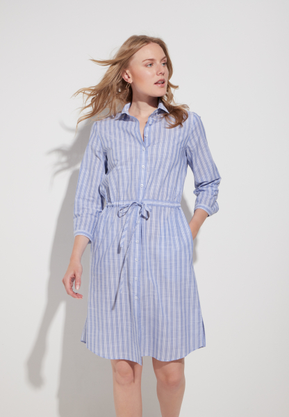 ETERNA 3/4 SLEEVE SHIRTDRESS MODERN CLASSIC BLUE/WHITE STRIPED