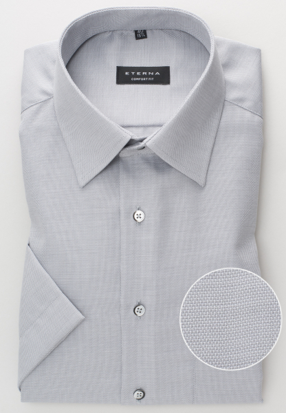 ETERNA HALF SLEEVE SHIRT COMFORT FIT FANCY WEAVE SILVER GRAY STRUCTURED