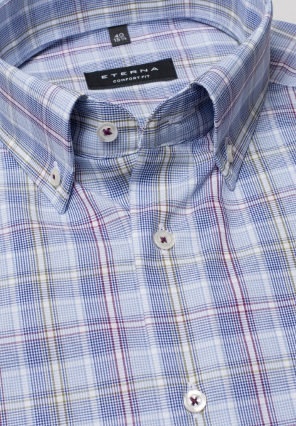 ETERNA LONG SLEEVE SHIRT COMFORT FIT POPLIN LIGHT BLUE / WHITE CHECKED