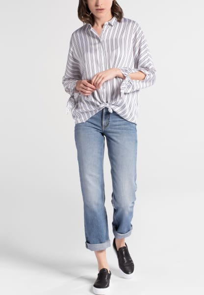 ETERNA 3/4 SLEEVE BLOUSE MODERN CLASSIC ANTHRACITE / WHITE STRIPED