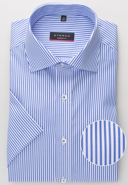 ETERNA HALF SLEEVE SHIRT MODERN FIT TWILL BLUE STRIPED