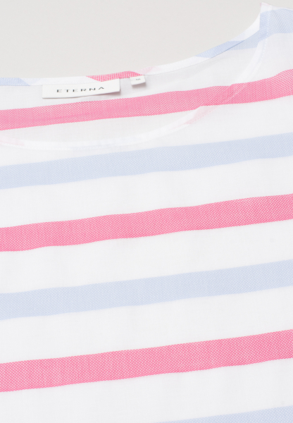 ETERNA WITHOUT SLEEVES BLOUSE MODERN CLASSIC BARRÉ LIGHT BLUE / WHITE / PINK STRIPED