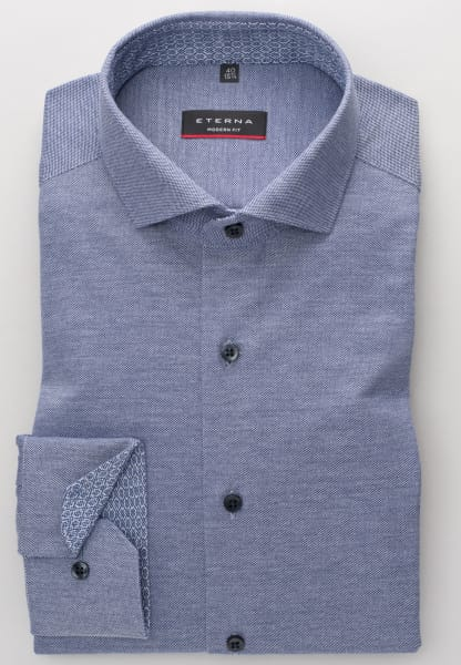 ETERNA LONG SLEEVE SHIRT MODERN FIT PIQUÉE FLECKED BLUE UNI