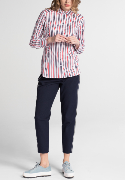 ETERNA LONG SLEEVE BLOUSE SLIM FIT STRETCH NAVY/RED STRIPED