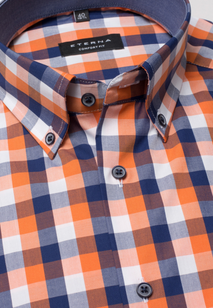 ETERNA LONG SLEEVE SHIRT COMFORT FIT POPLIN NAVY / ORANGE CHECKED